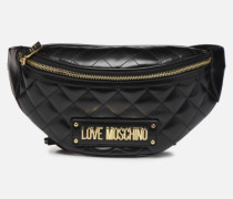 NEW SHINY QUILTED WAISTBAG in schwarz