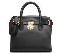 Peony Cuir Satchel Handtasche in schwarz