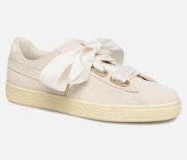 Suede Heart Satin Wn's Sneaker in beige