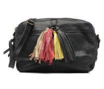 Tassel Leather Crossbody Handtasche in schwarz