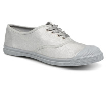Tennis Lacets Shiny Sneaker in silber