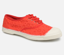 Tennis Lacet Broderie Anglaise Sneaker in rot