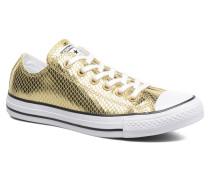 Chuck Taylor All Star Ox Metallic Snake Leather Sneaker in goldinbronze