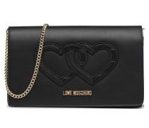 Crossbody Double Heart Handtasche in schwarz