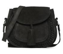 Fedori Suede Crossbody Handtasche in schwarz