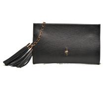 Pochette grainée pompon Mini Bag in schwarz