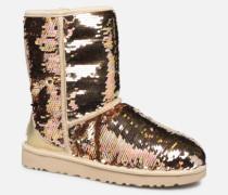 W Classic Short Sequin Stiefeletten & Boots in goldinbronze