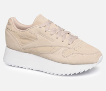 Classic Leather Double Sneaker in beige