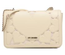 Porté épaule Love Intarsia Handtasche in weiß