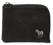 Men Corner Zip Wallet Zebra in schwarz