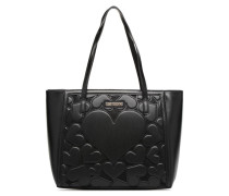 Cabas Zippé Love Intarsia Handtasche in schwarz