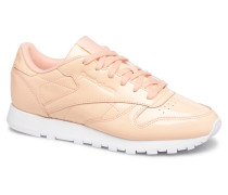 Classic Leather Patent Sneaker in beige