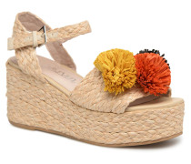 Pompom Sandalen in beige