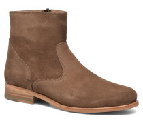 Boots croute velours plate Stiefeletten & in braun