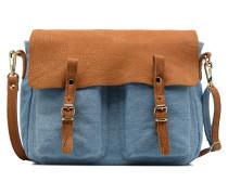 Mini Maths Reversible Toile & Cuir Handtasche in blau
