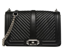Chevron Quilted Love Crossbody Handtasche in schwarz