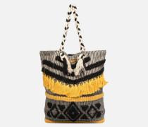 Cabas Pompons Handtasche in schwarz