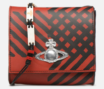 Crini Check Leather Crossbody Handtasche in rot