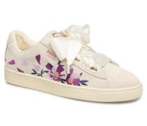 Suede Heart Flowery Sneaker in weiß