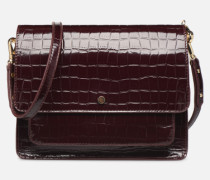 Sac Charles Patent leather croco Handtasche in weinrot