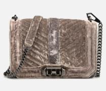 Chevron Quilted Small Love Crossbody Velvet Handtasche in grau