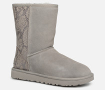 Classic Short Metallic Snake Stiefel in grau