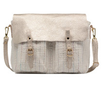 Mini Maths Reversible Toile & Cuir Handtasche in weiß