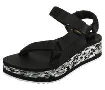 Flatform Marbled Sandalen Damen schwarz weiß