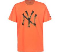 MLB Infill Team Logo New York Yankee Herren T-hirt neon orange