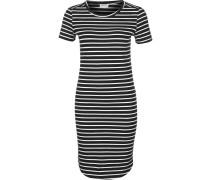 NMSimma Damen Kleid schwarz weiß gestreift