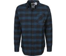 Stretch Flannel Langarmhemd blau schwarz kariert