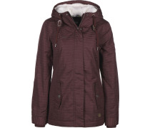 Monade Stripes Winterjacke Damen weinrot weiß gestreift