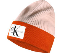Block Knitted W Beanie pink orange