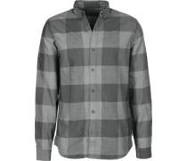 Wilken Flannel Check Langarmhemden Langarmhemd grau grau
