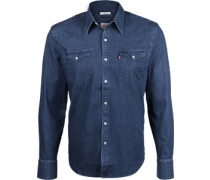 Bartow Wetern Langarmhemd blau