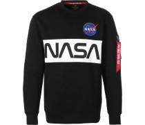 Nasa Inlay Herren Sweater schwarz weiß