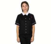 Embroidered Bowling Kurzarmhemd Damen schwarz rot