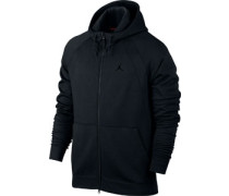 Wing Hooded Zipper chwarz