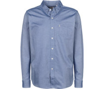 unet 1 Pocket Langarmhemd blau meliert