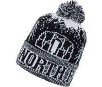 Fair Isle Pom Mütze schwarz weiß