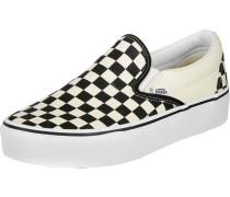 Classic Slip-On Platform Schuhe weiß schwarz kariert