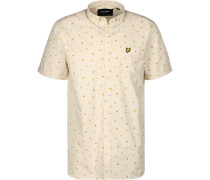 Beach Ball Print Kurzarmhemd Herren beige