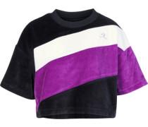 Velour Cropped Boxy W T-Shirt Damen schwarz lila EU