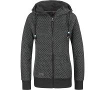 Chelsea Dots Hooded Zipper Damen schwarz grau meliert