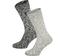 X-Mas Slub 2er Pack Herren Socken schwarz grau meliert