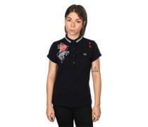 Embroidered Pique W Polo schwarz rot weiß