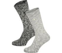 X-Mas Slub 2er Pack W Socken Damen schwarz grau meliert