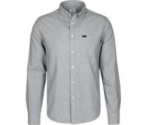 Button Down Langarmhemd grau meliert