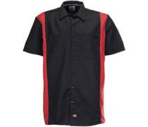 Two Tone Work Kurzarmhemd schwarz rot