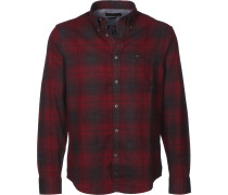 Button Down Herren Langarmhemd rot
